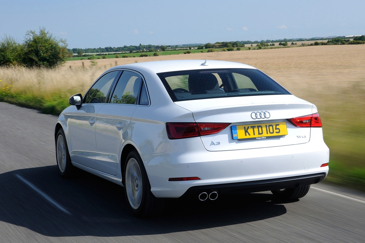 Audi A3 Saloon driving - rear view